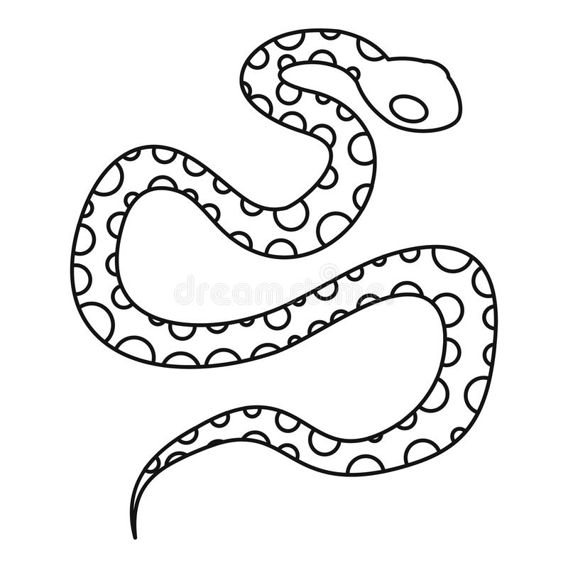 Icona del serpente del pitone, stile del profilo illustrazione di stock