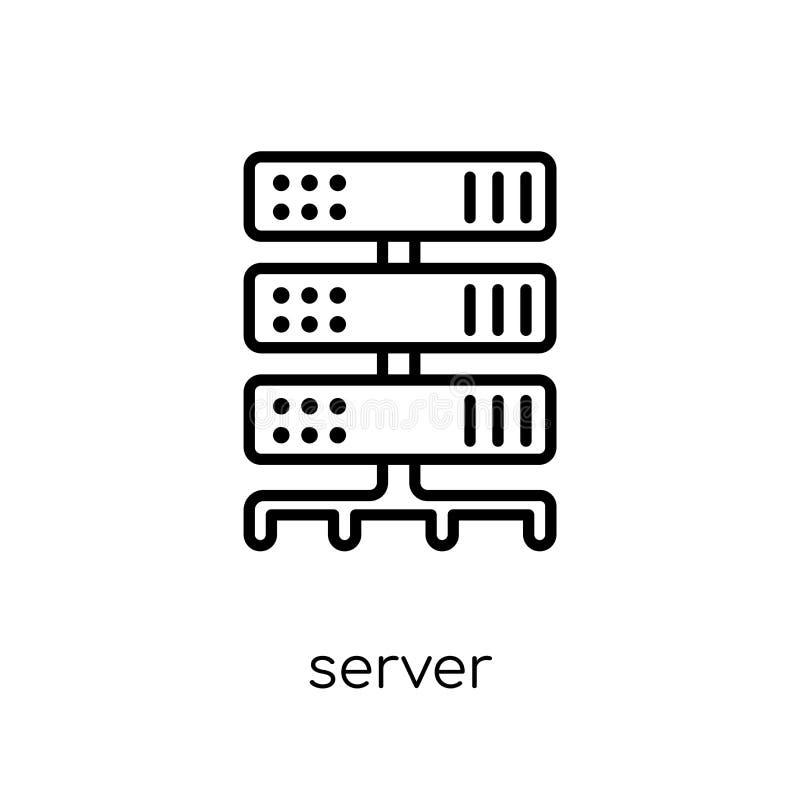 Icona del server Icona lineare piana moderna d'avanguardia del server di vettore sul whi royalty illustrazione gratis