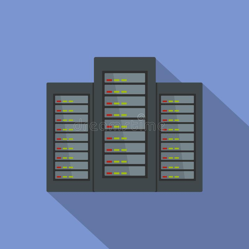 Icona del server, stile piano illustrazione di stock