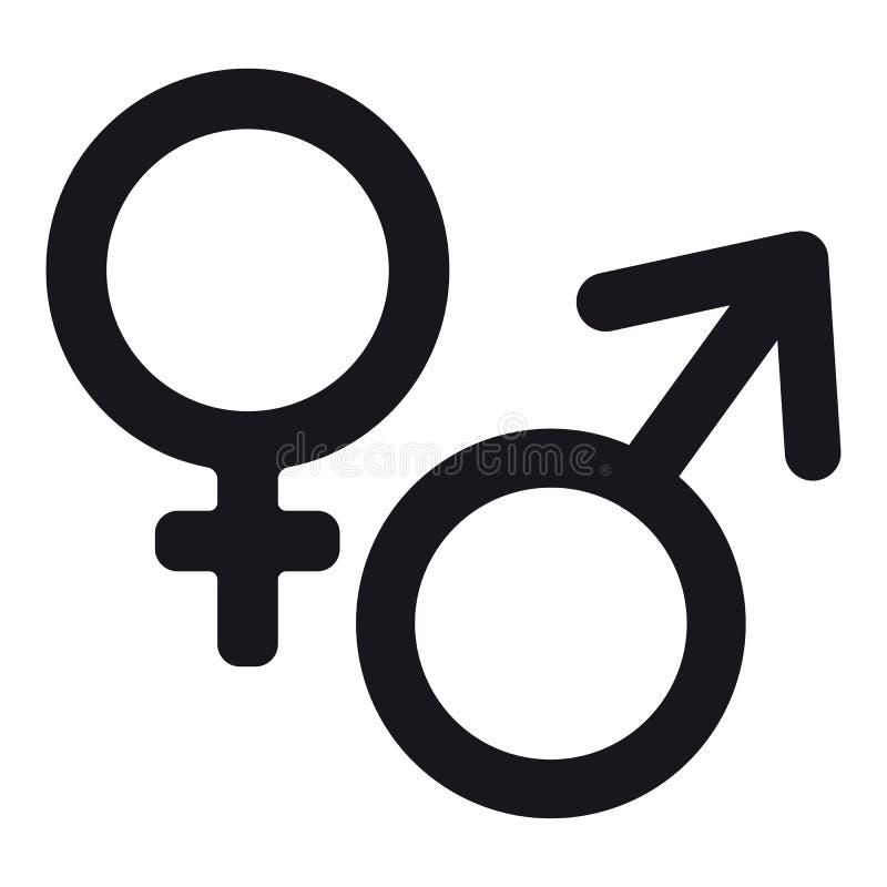 Icona del sesso maschio e femminile - illustrazione di vettore - isolata su bianco royalty illustrazione gratis