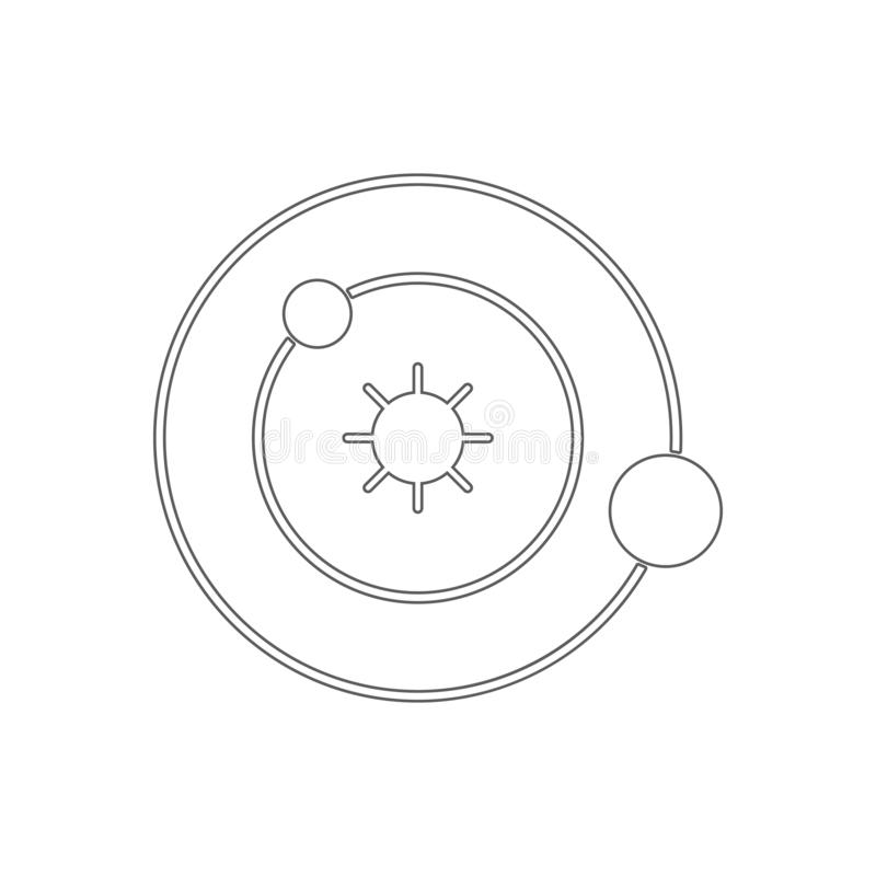 Icona del sistema solare Elemento di istruzione per il concetto e l'icona mobili dei apps di web _profilo, sottile linea icona pe royalty illustrazione gratis