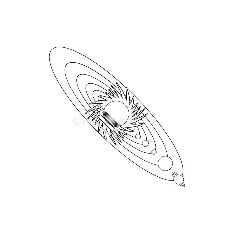 Icona del sistema solare Elemento di spazio per il concetto e l'icona mobili dei apps di web Linea sottile icona per progettazion illustrazione di stock