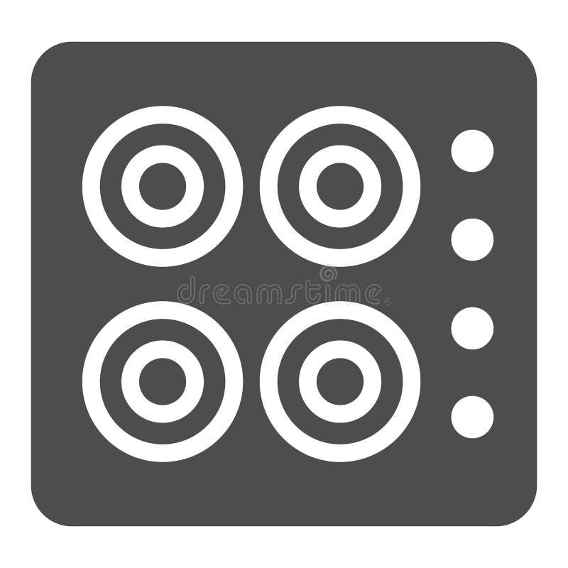 Icona del solido della stufa Illustrazione di vettore del fornello isolata su bianco Progettazione di stile di glifo del forno, p illustrazione di stock