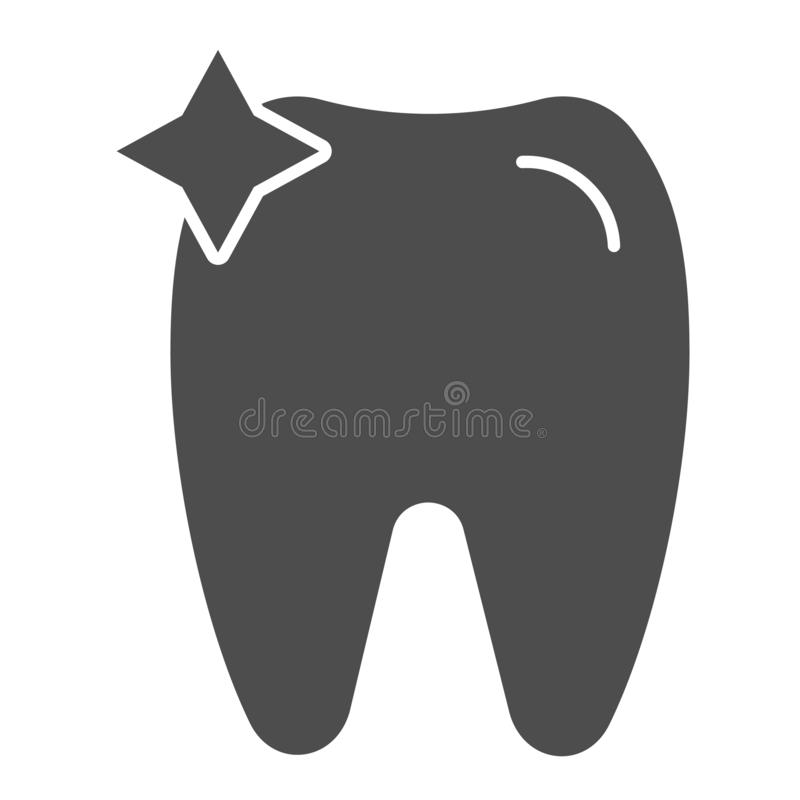 Icona del solido del dente Illustrazione di vettore dell'ammaccatura isolata su bianco Progettazione di stile di glifo di odontoi illustrazione di stock