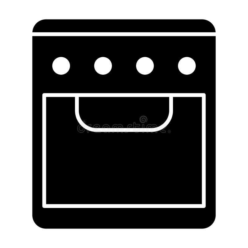 Icona del solido del forno Illustrazione di vettore della stufa isolata su bianco Progettazione di stile di glifo del fornello, p illustrazione vettoriale