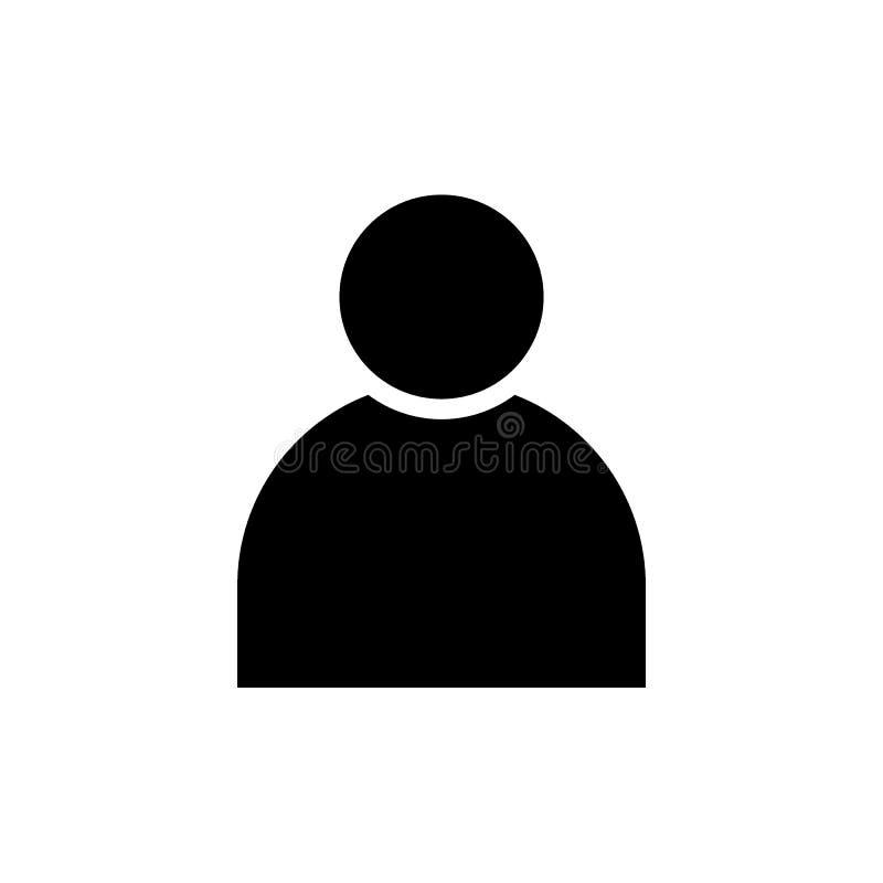 Icona del solido del nero dell'avatar di profilo utente illustrazione vettoriale