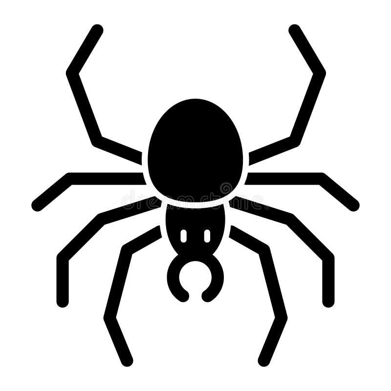 Icona del solido del ragno Illustrazione di vettore dell'aracnide isolata su bianco Progettazione di stile di glifo dell'insetto, illustrazione vettoriale