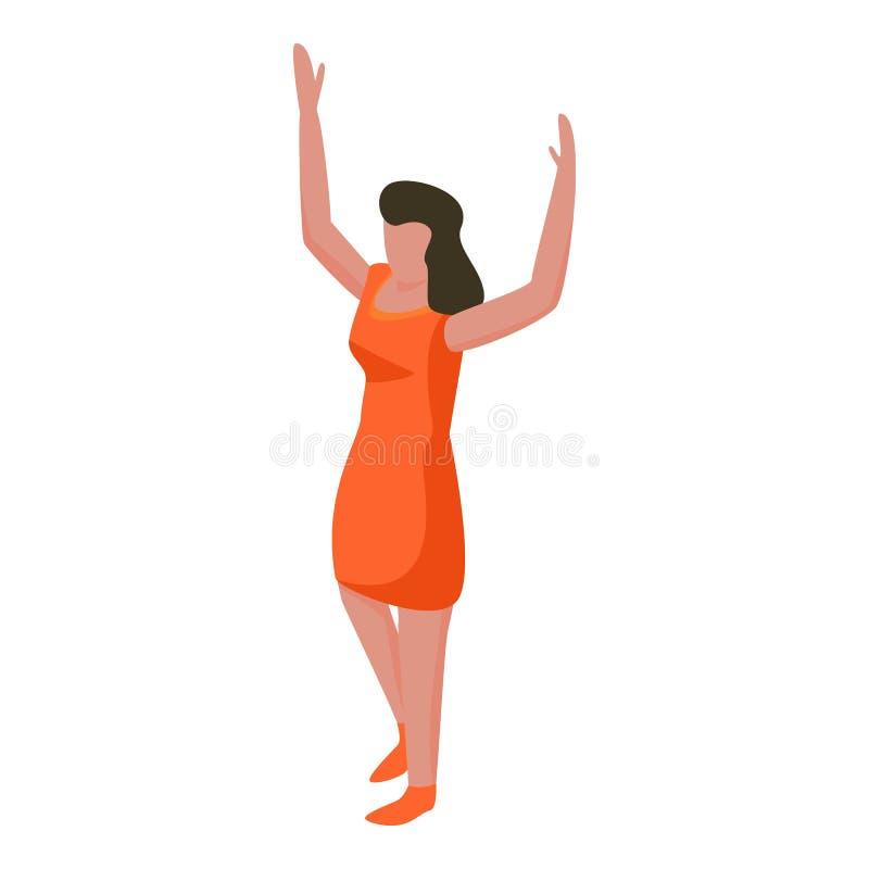 Icona del sostenitore della spagna di calcio della donna, stile isometrico royalty illustrazione gratis