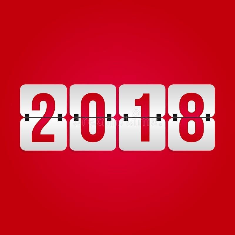 Icona del tabellone segnapunti da 2018 buoni anni Simbolo di vibrazione di vettore di vacanza invernale per la celebrazione, deco illustrazione di stock