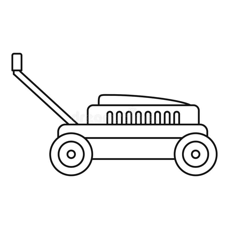 Icona del taglio dell'erba della mano, stile del profilo illustrazione di stock