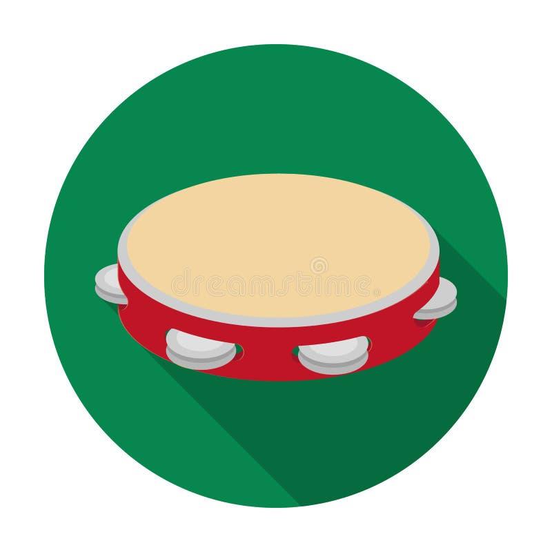 Icona del tamburino nello stile piano isolata su fondo bianco Simbolo del paese della Spagna royalty illustrazione gratis