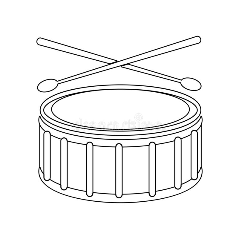 Icona del tamburo Elemento dello strumento di musica per il concetto e l'icona mobili dei apps di web _profilo, sottile linea ico illustrazione vettoriale