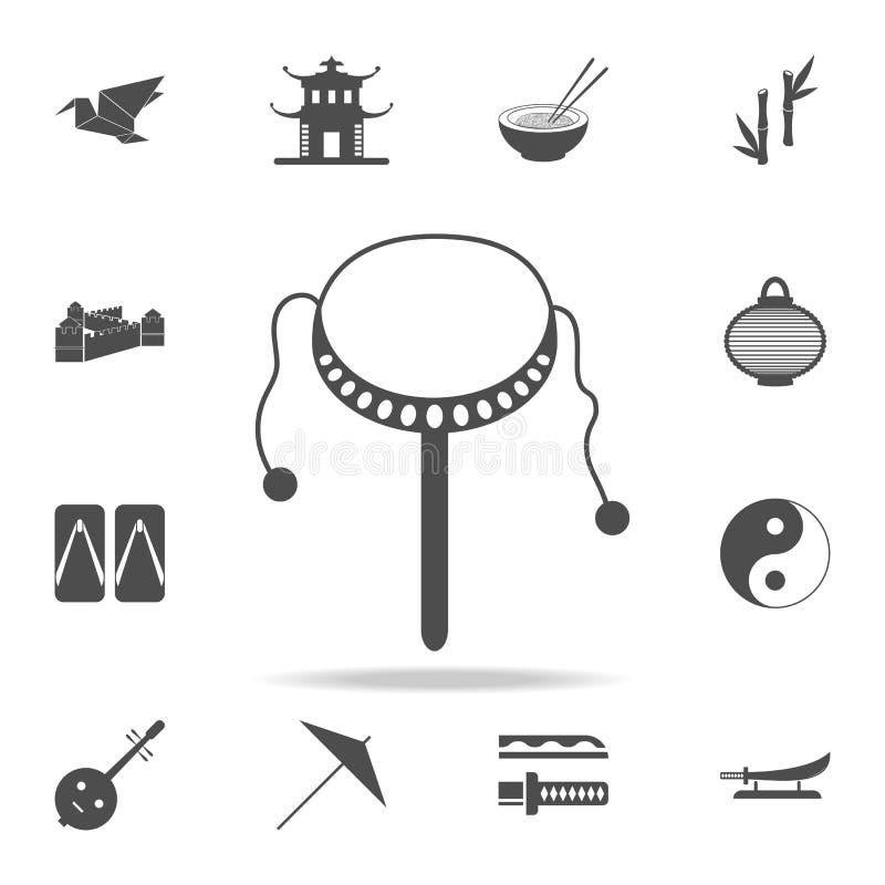 Icona del tamburo del giocattolo Insieme delle icone cinesi della cultura Progettazione grafica di qualità premio delle icone di  illustrazione vettoriale