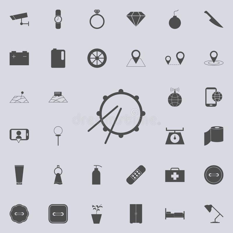 Icona del tamburo Insieme dettagliato delle icone minimalistic Segno premio di progettazione grafica di qualità Una delle icone d illustrazione vettoriale
