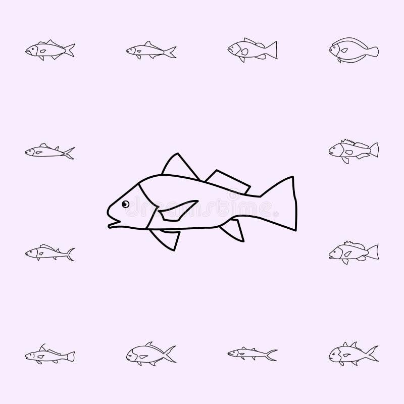 icona del tamburo nero Insieme universale delle icone del pesce per il web ed il cellulare royalty illustrazione gratis