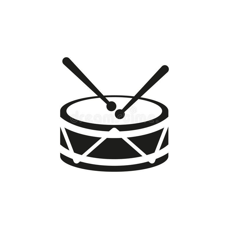 Icona del tamburo Progettazione Musica e simbolo del giocattolo web grafico ai app marchio oggetto piano immagine segno ENV Arte  royalty illustrazione gratis