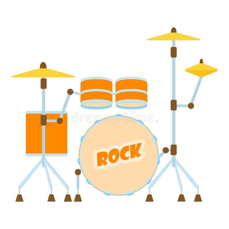 Icona del tamburo, stile piano illustrazione di stock