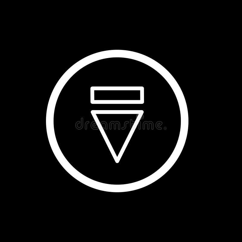 Icona del tasto di espulsione icona semplice di vettore del tasto di espulsione del profilo Su fondo nero illustrazione vettoriale