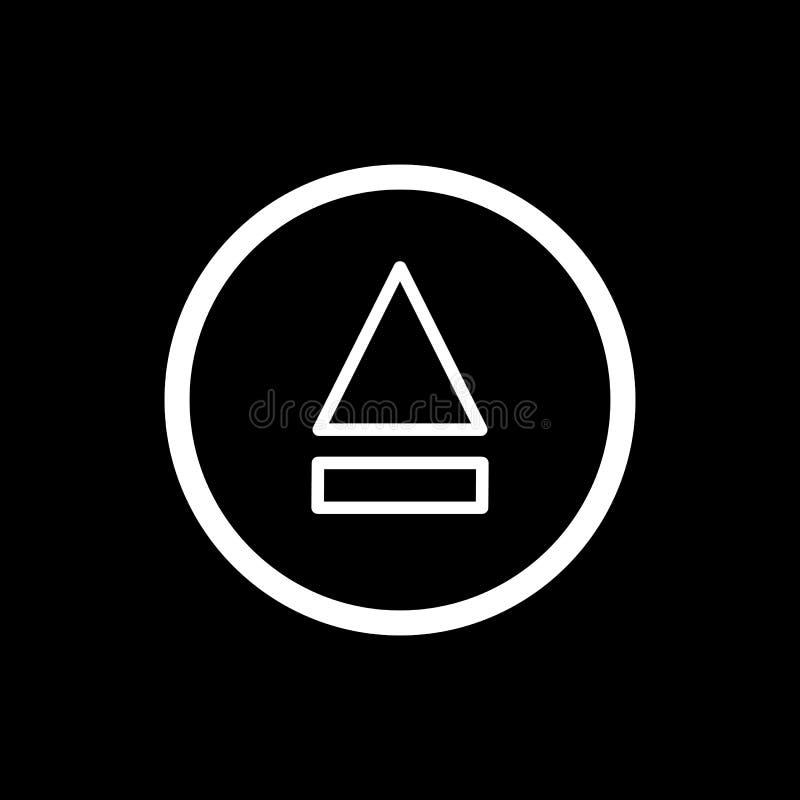 Icona del tasto di espulsione icona semplice di vettore del tasto di espulsione del profilo Su fondo nero royalty illustrazione gratis