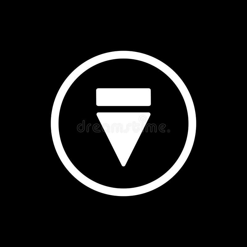 Icona del tasto di espulsione icona solida semplice di vettore del tasto di espulsione Su fondo nero illustrazione vettoriale