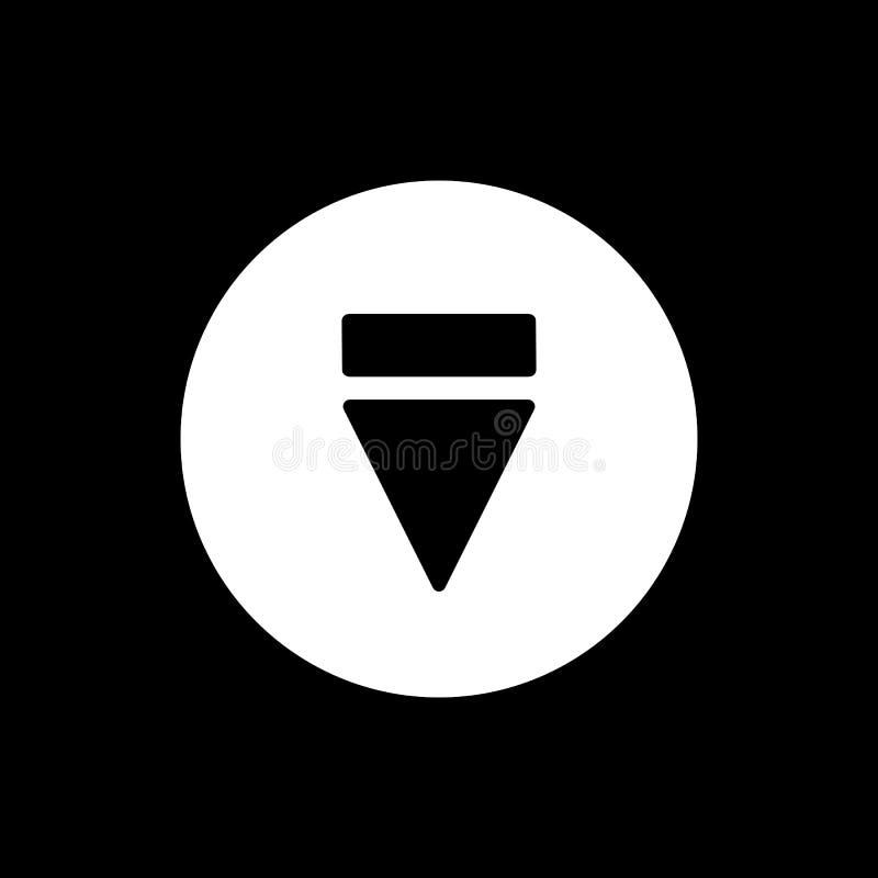 Icona del tasto di espulsione icona solida semplice di vettore del tasto di espulsione Su fondo nero illustrazione di stock
