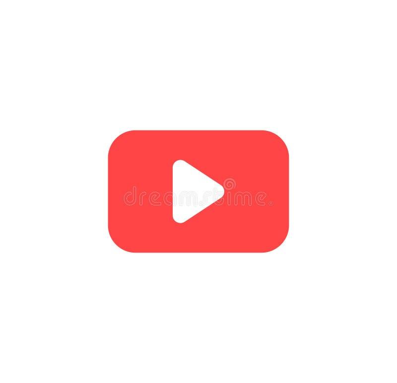 Icona del tasto di riproduzione nello stile piano d'avanguardia isolata su fondo grigio Simbolo per la vostra progettazione del s illustrazione di stock