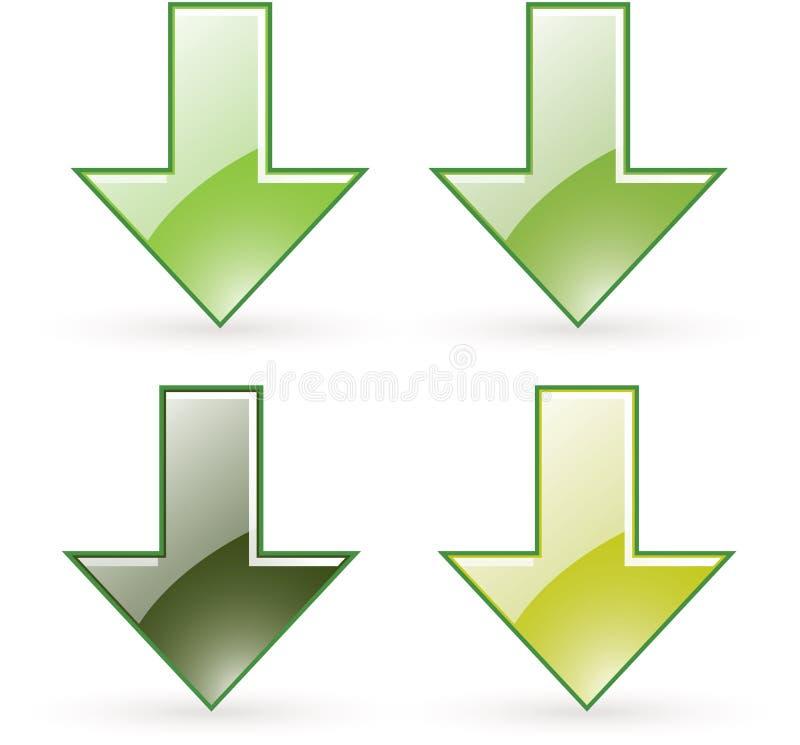 Icona del tasto di verde di trasferimento dal sistema centrale verso i satelliti della freccia illustrazione di stock