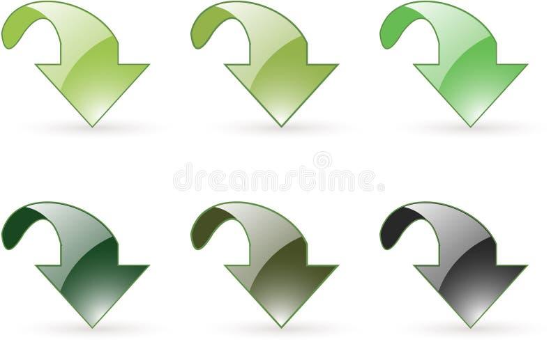 Icona del tasto di verde di trasferimento dal sistema centrale verso i satelliti della freccia royalty illustrazione gratis