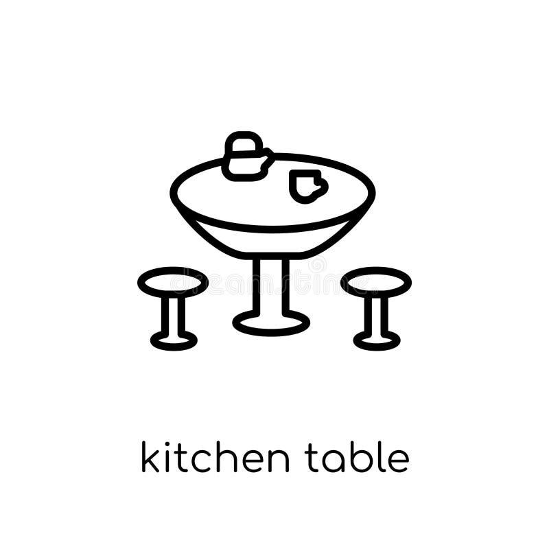 Icona del tavolo da cucina dalla raccolta della famiglia e della mobilia illustrazione di stock