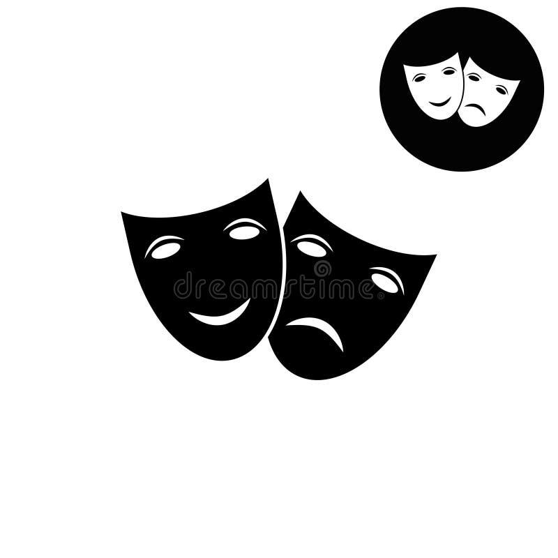 Icona del teatro con le maschere felici e tristi - icona bianca di vettore royalty illustrazione gratis