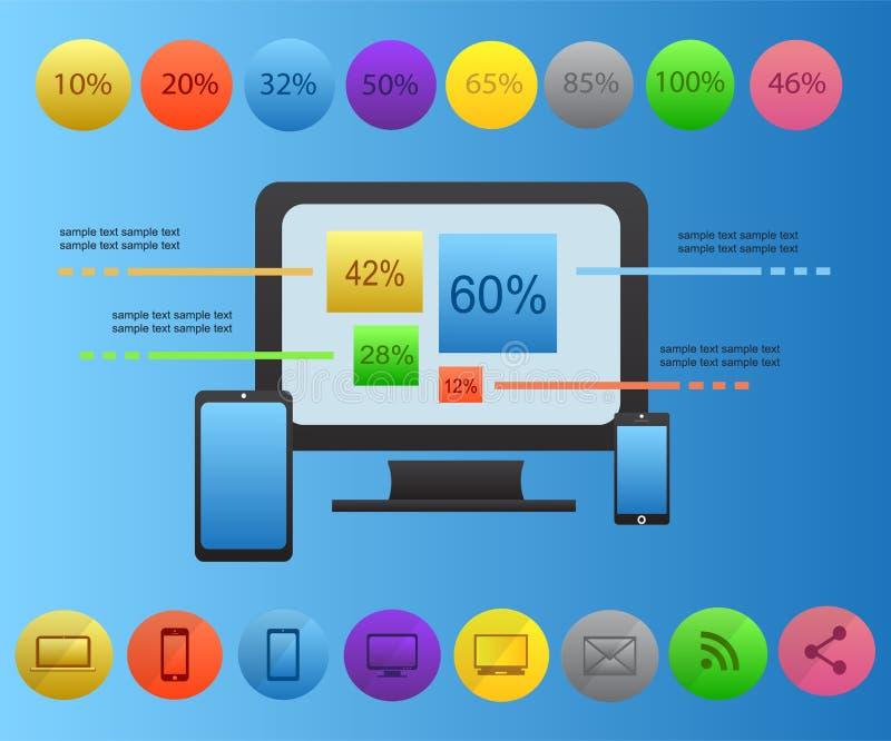 Icona del telefono cellulare di vettore di Infographic con le icone sociali di media illustrazione di stock