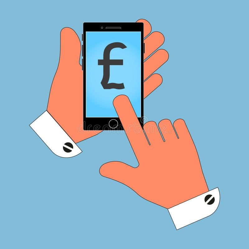 Icona del telefono nella mano, con l'icona della libbra britannica sullo schermo, isolamento su un fondo blu illustrazione vettoriale