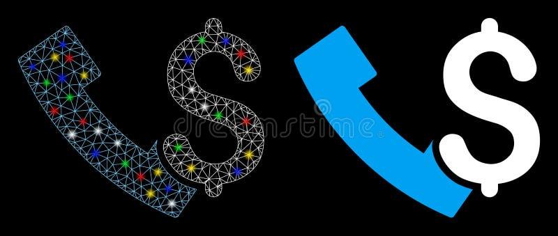 Icona del telefono Payphone 2D a Mesh con punti di infiammabilità illustrazione vettoriale