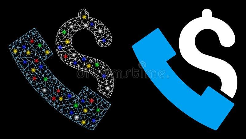 Icona del telefono Payphone 2D a Mesh con punti di infiammabilità royalty illustrazione gratis
