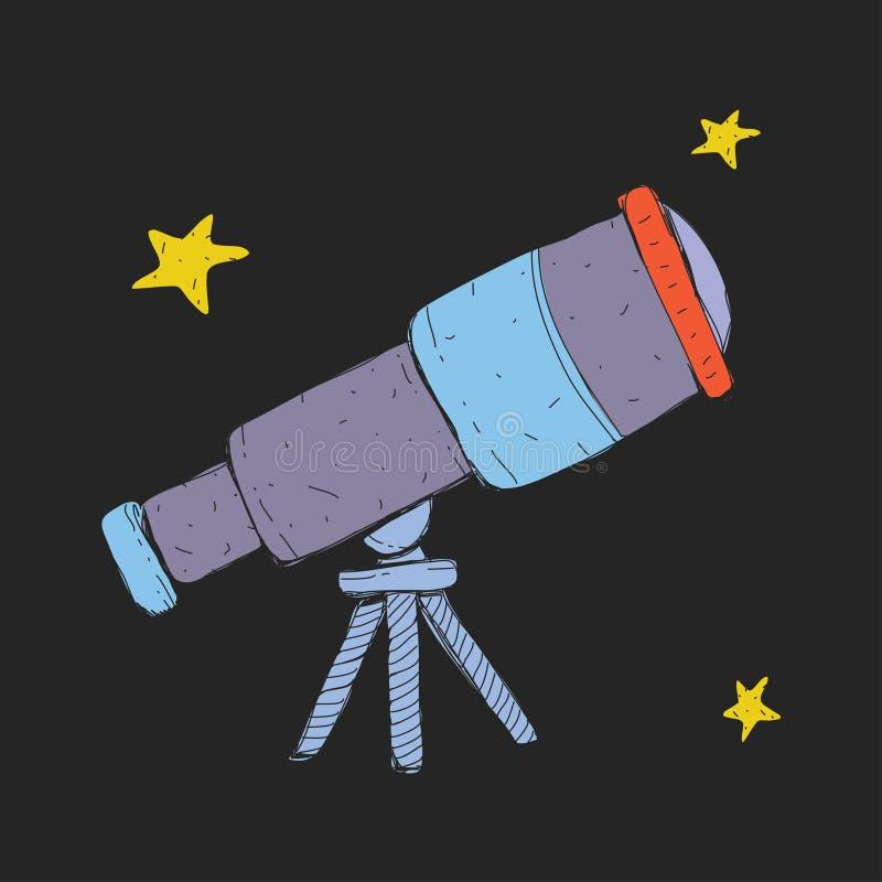 Icona del telescopio spaziale del fumetto con le stelle per i bambini Esplorazione di viaggio di avventura intorno all'universo illustrazione di stock