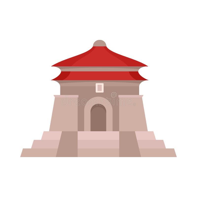 Icona del tempio di Taiwan, stile piano illustrazione vettoriale