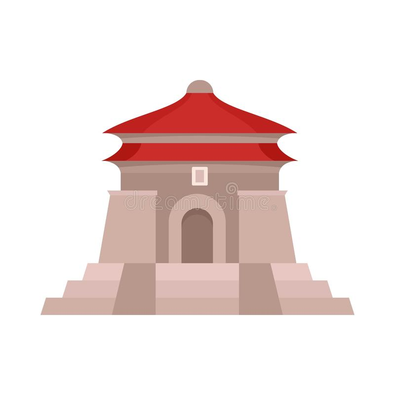 Icona del tempio di Taiwan, stile piano illustrazione di stock