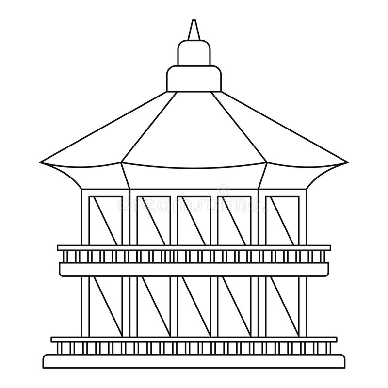 Icona del tempio di Taiwan, stile del profilo illustrazione di stock