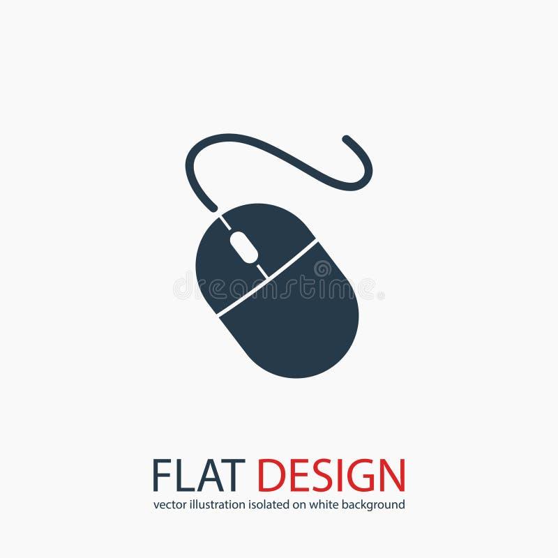 Icona del topo del computer, illustrazione di vettore Stile piano di progettazione immagine stock