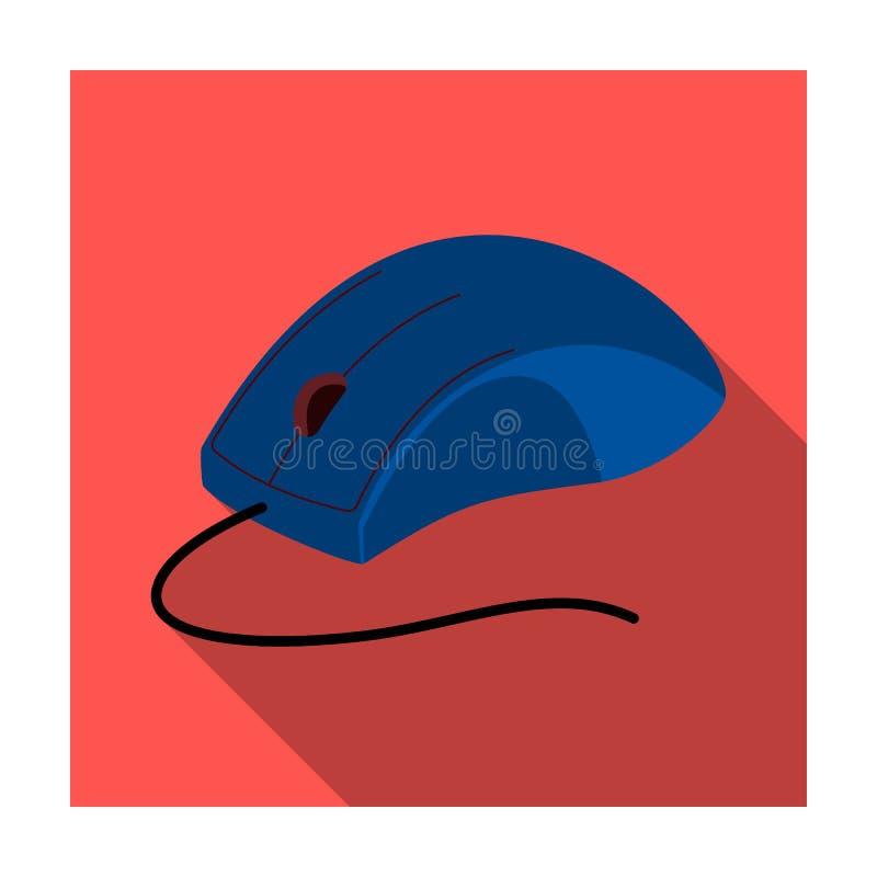 Icona del topo del computer nello stile piano isolata su fondo bianco Vettore con computer personale delle azione di simbolo degl illustrazione di stock