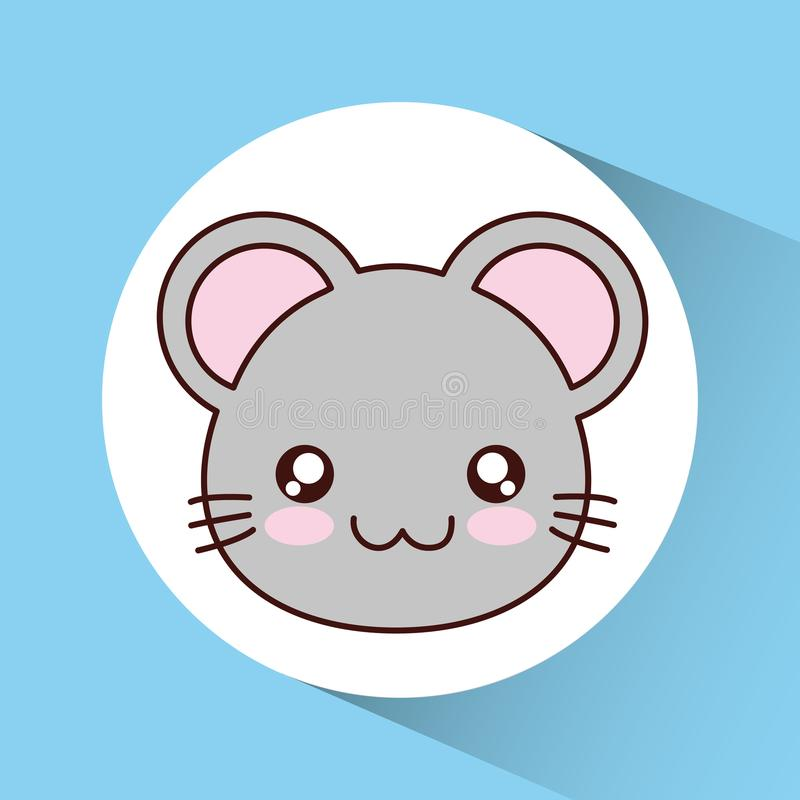 Icona del topo di Kawaii Animale sveglio Grafico di vettore illustrazione vettoriale