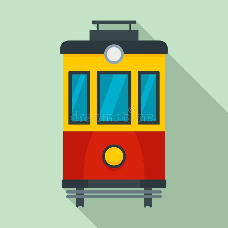 Icona del tram di vista frontale, stile piano illustrazione di stock
