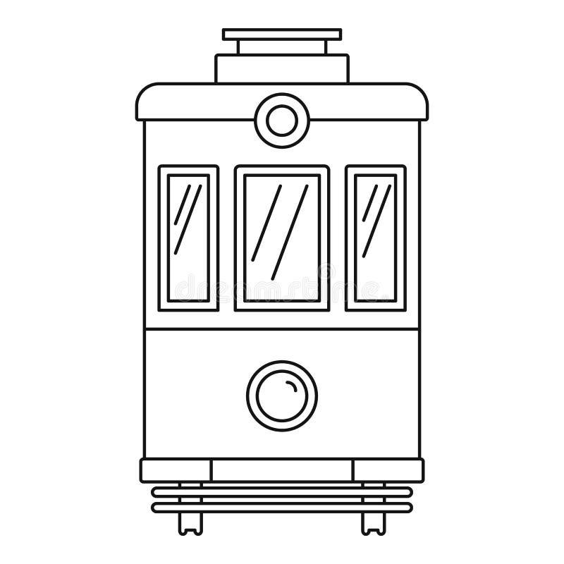 Icona del tram di vista frontale, stile del profilo illustrazione vettoriale