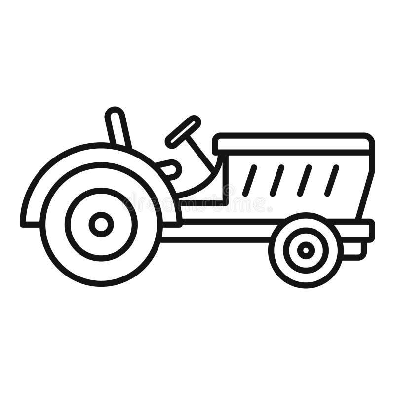 Icona del trattore, stile del profilo illustrazione di stock