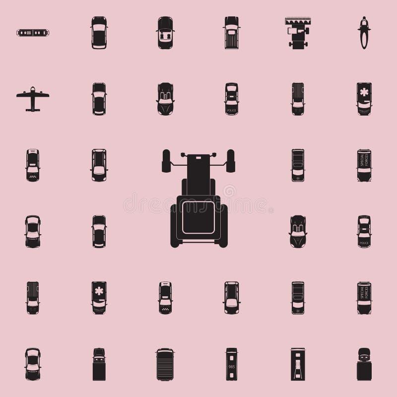 Icona del trattore Trasporti la vista da sopra l'insieme universale delle icone per il web ed il cellulare illustrazione vettoriale