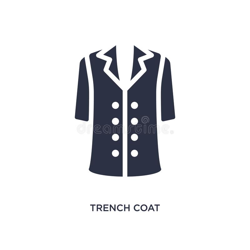icona del trench su fondo bianco Illustrazione semplice dell'elemento dal concetto dei vestiti illustrazione di stock