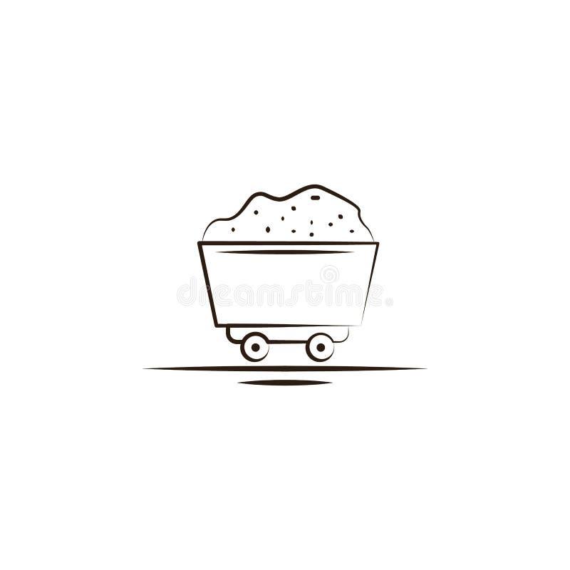 icona del treno del carbone della miniera Elemento dell'icona del deserto per i apps mobili di web e di concetto L'icona del tren illustrazione vettoriale
