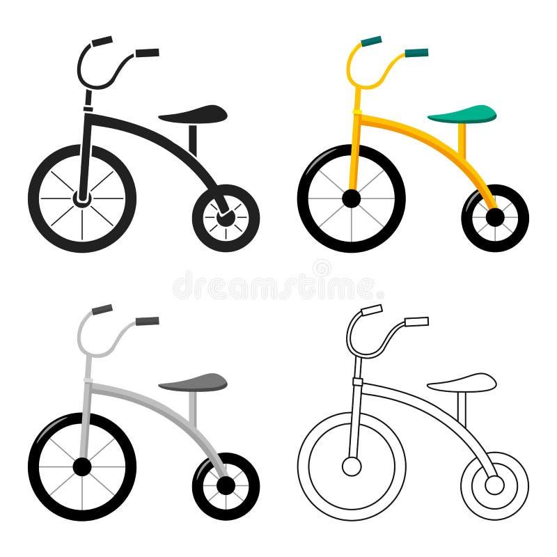 Icona del triciclo nello stile del fumetto isolata su fondo bianco Illustrazione di vettore delle azione di simbolo del giardino  illustrazione vettoriale