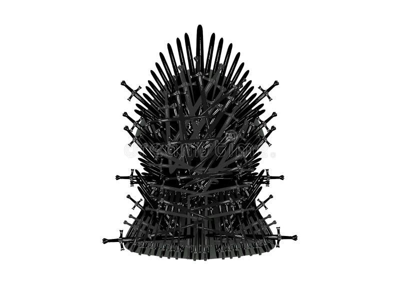 Icona del trono del ferro Fondo isolato o bianco dell'illustrazione di vettore illustrazione vettoriale