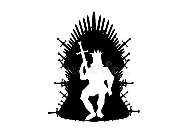 Icona del trono del ferro Fondo isolato o bianco dell'illustrazione di vettore royalty illustrazione gratis